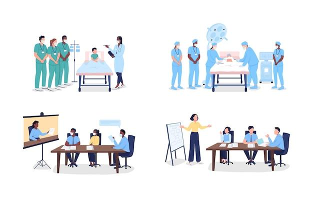 Homens e mulheres profissionais em treinamento conjunto de caracteres sem rosto de vetor de cor plana. oficinas e seminários isolaram a ilustração dos desenhos animados para o design gráfico da web e coleção de animação