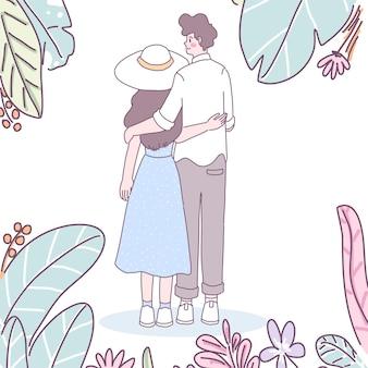 Homens e mulheres que mostram amor um pelo outro