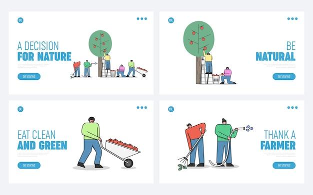 Homens e mulheres que trabalham na plantação de maçãs usam ferramentas de jardinagem