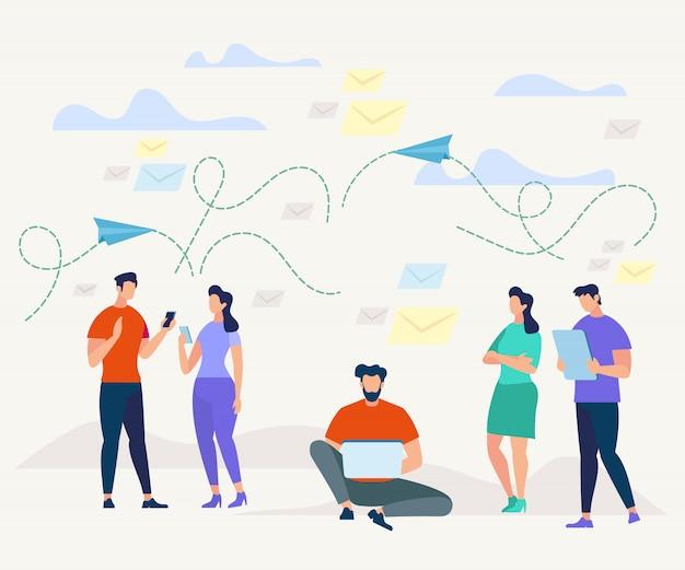 Homens e mulheres se comunicando com dispositivos móveis.