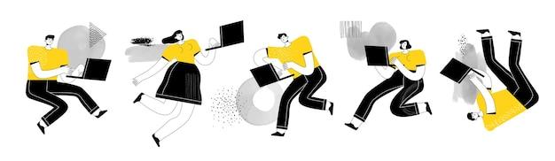 Homens e mulheres trabalham e estudam com laptops