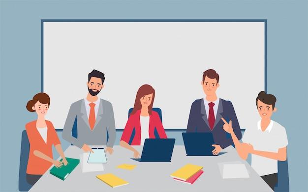Homens e mulheres vestidos com roupas de negócios, sentado à mesa e discutindo brainstorming. ilustração em vetor abstrato dos desenhos animados em estilo simples.