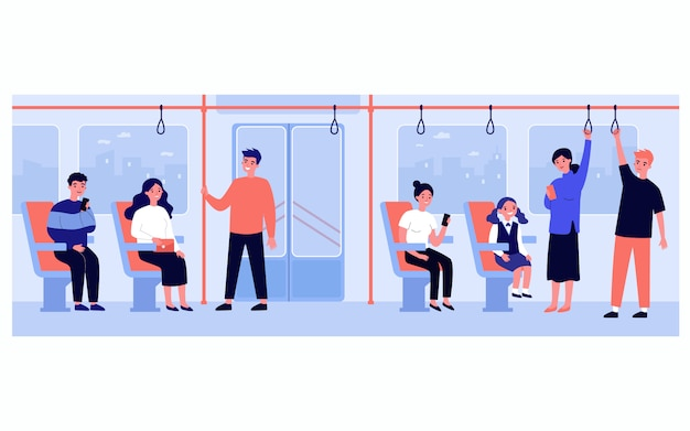 Homens e mulheres viajando de ônibus ou metrô