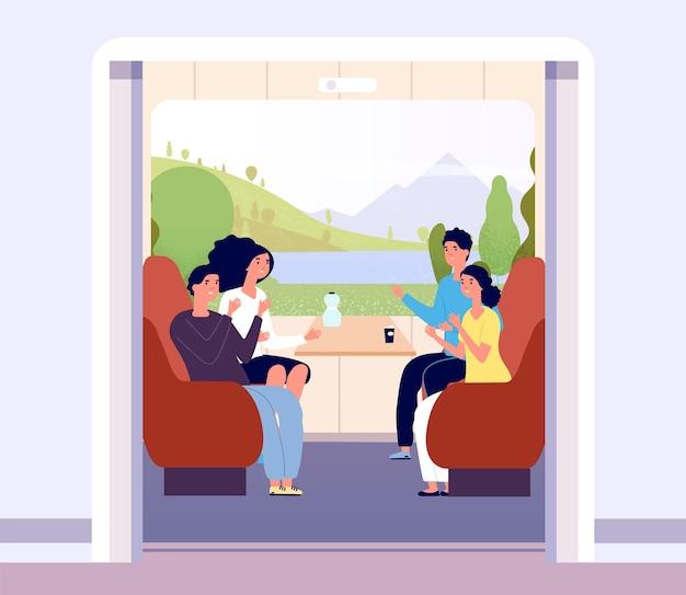 Homens e mulheres viajando de trem.