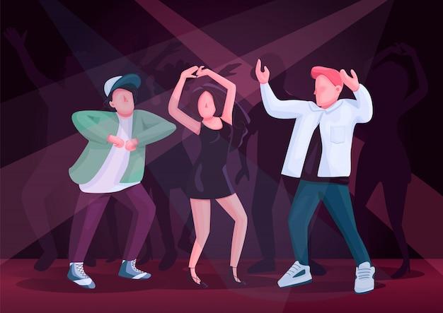 Homens e pares da mulher que dançam junto a ilustração de cor. namorado e namorada em personagens de desenhos animados de festa discoteca boate. pessoas no clube com multidão e holofotes no fundo