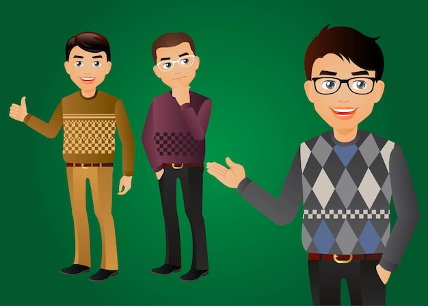 Homens elegantes em roupas da moda
