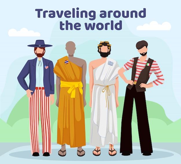 Homens em diferentes países de vestuário nacional.