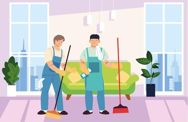 Homens em serviços de limpeza em casa desenho de ilustração