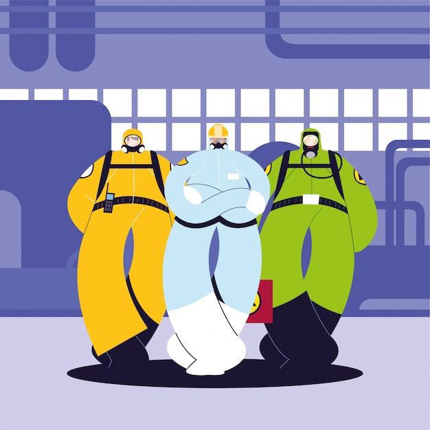 Homens em trajes de proteção, indústria química