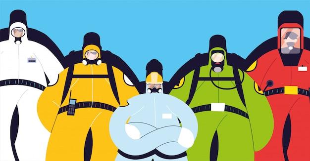 Homens em trajes de proteção, roupas de segurança
