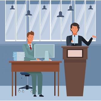 Homens em um pódio e mesa de escritório