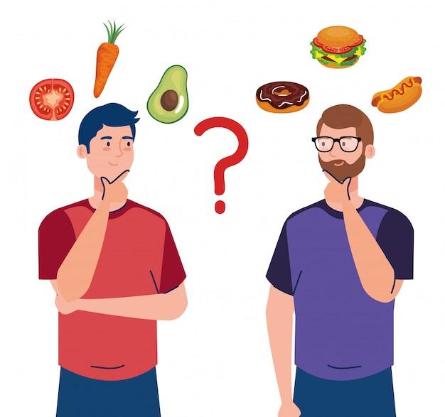 Homens escolhendo entre alimentos saudáveis e não saudáveis, fast food vs menu equilibrado