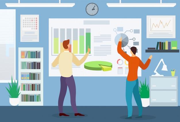 Homens explorar diagrama e gráfico. reunião de negócios.