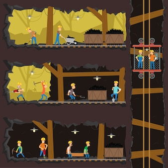 Homens extraem carvão na mina.