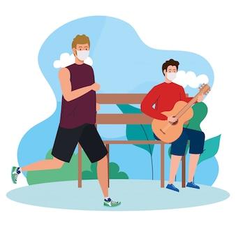 Homens fazendo atividades no exterior usando máscara médica, tocando violão e correndo usando máscara médica