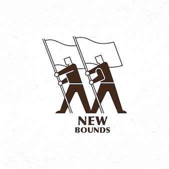 Homens figura ícone segurando um logotipo de bandeira