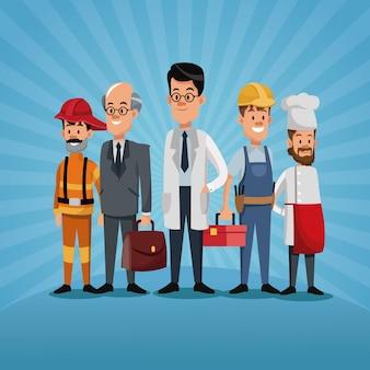 Homens grupo diferentes trabalhadores do trabalho dia do trabalho