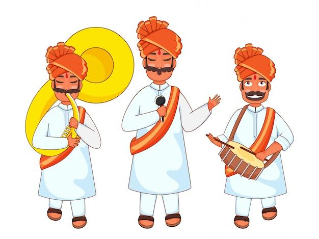Homens indianos tocando tarola, sousafone e cantando no microfone.