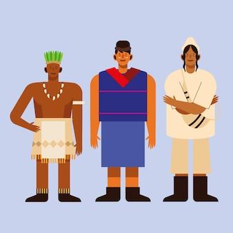 Homens indígenas com roupa tradicional em fundo azul
