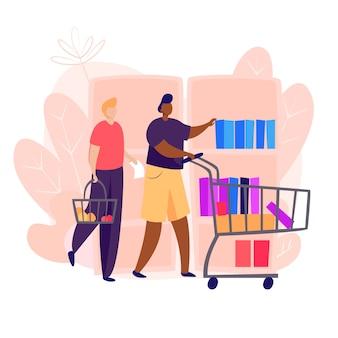 Homens indo às compras de alimentos