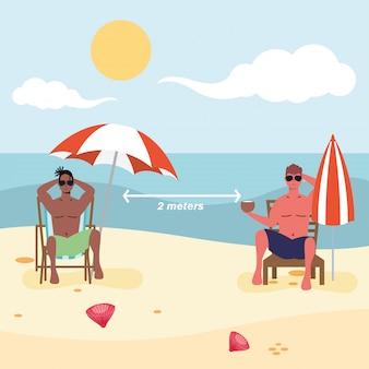 Homens inter-raciais na praia praticando distância social
