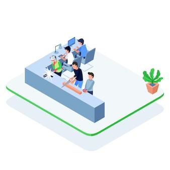 Homens isométricos trabalhando juntos em uma oficina