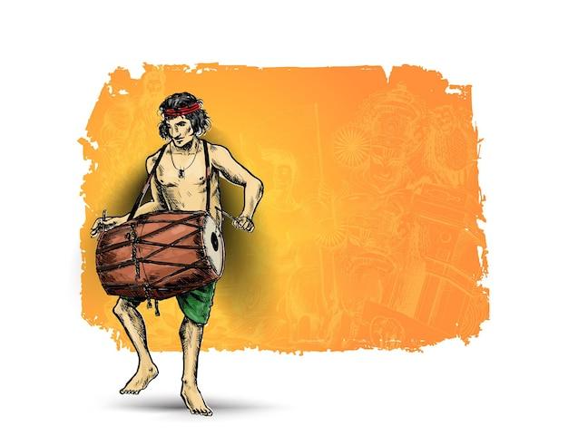 Homens jogando dhol tasha no festival indiano feliz navratri vector, ilustração em vetor desenhado à mão sketch.