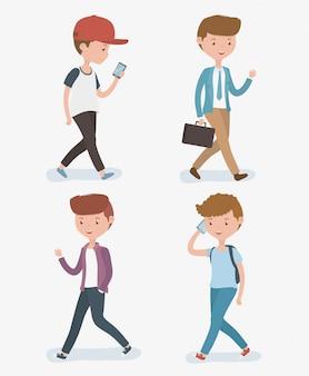 Homens jovens, andar, avatars, caráteres