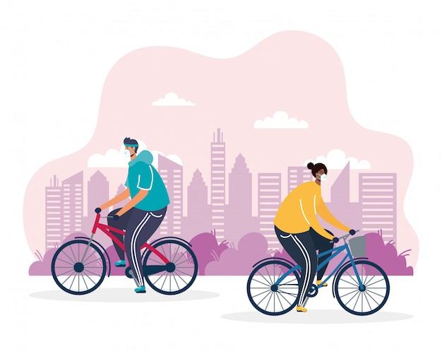 Homens jovens, andar bicicleta, ilustração médica máscara