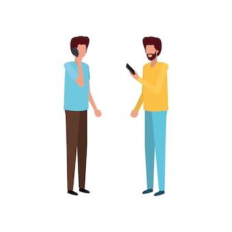 Homens jovens com caráter de avatar do smartphone