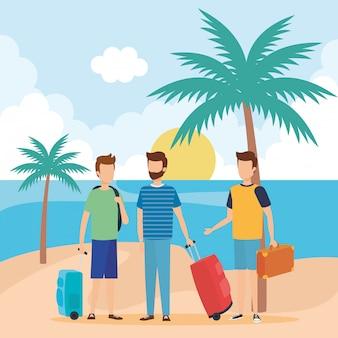 Homens jovens, com, malas, praia