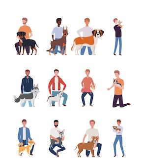 Homens jovens com personagens de mascotes de cães fofos