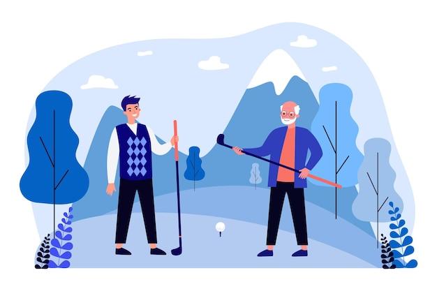 Homens jovens e velhos jogando golfe. ilustração em vetor plana. avô e filho ou neto segurando tacos de golfe em um campo de golfe. diversão, família, jogo, hobby, conceito de esporte para design de banner