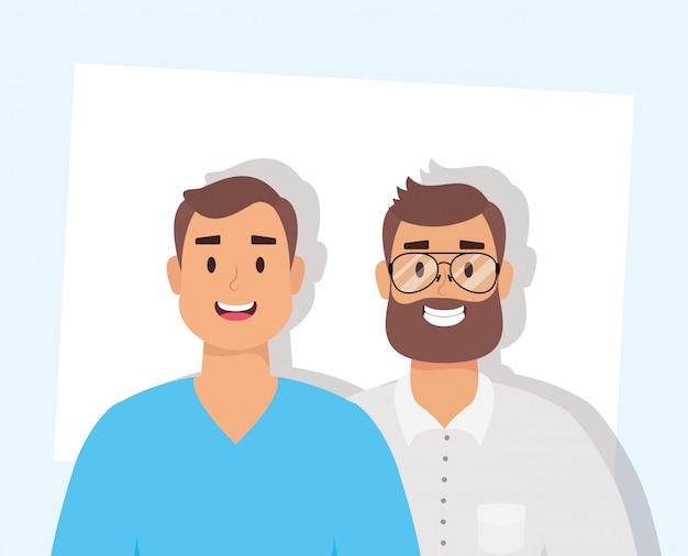 Homens jovens elegantes com caracteres de avatares de barba