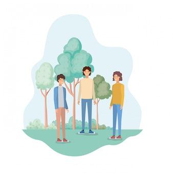 Homens jovens, em, paisagem, com, árvores plantas
