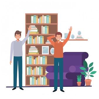 Homens jovens em personagem de avatar de sala de estar