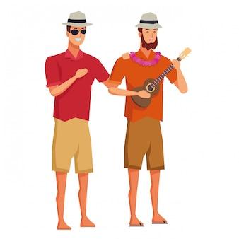 Homens jovens, em, tempo verão, desenhos animados
