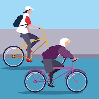 Homens jovens, montando o personagem de avatar de bicicleta