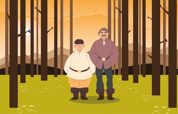 Homens medievais no design da floresta do reino e conto de fadas