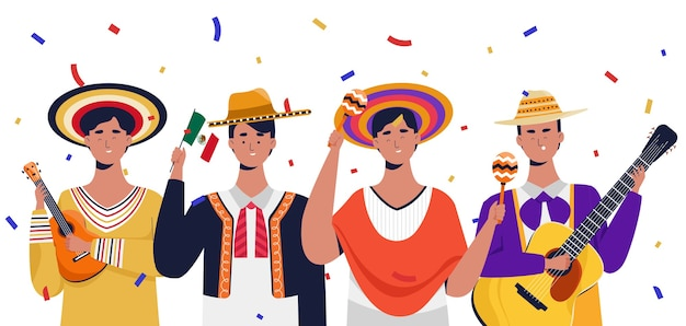 Homens mexicanos comemorando o dia da independência