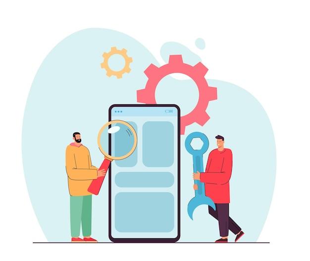 Homens minúsculos fazendo manutenção em um smartphone gigante. ilustração plana