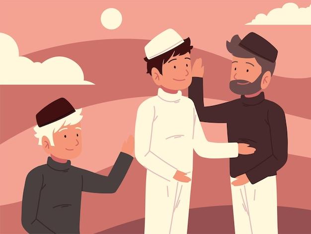 Homens muçulmanos agrupam desenhos animados