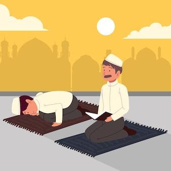 Homens muçulmanos rezando em uma mesquita
