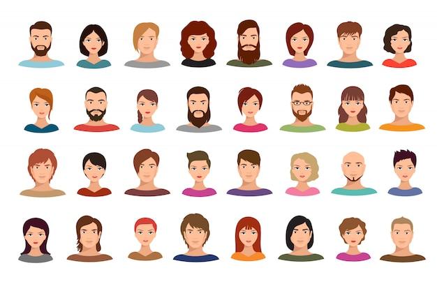 Homens mulheres, e, homens negócio, pessoas, equipe, avatars, macho fêmea, perfil, retratos, isolado
