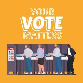 Homens na cabine de votação com seu design de texto de questões de voto, tema do dia das eleições.