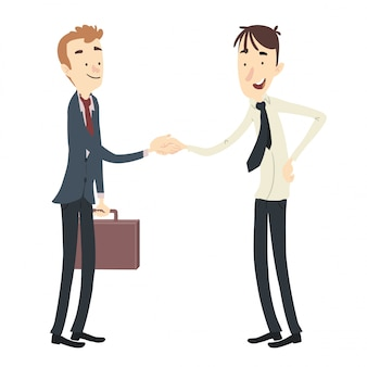 Homens negociando apertando as mãos