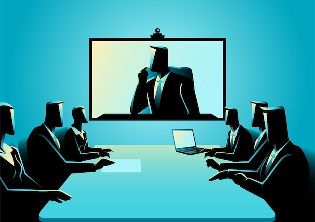 Homens negócio mulheres, tendo, teleconferência, reunião