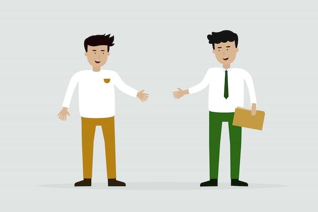 Homens negócio, reunião, e, apertar mão