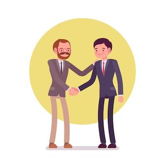 Homens negócios, saudação, handshaking