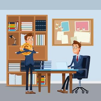 Homens negócios, sentando, em, um, cadeira escritório